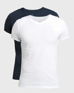 Gant Cotton V-Neck 2Pack T-Shirt Navy-Wit
