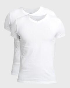 Gant Cotton V-Neck 2Pack T-Shirt White