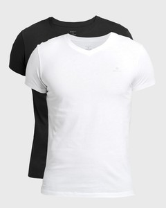 Gant Cotton V-Neck 2Pack T-Shirt Zwart-Wit