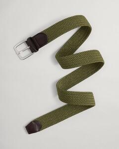 Gant Elastisch Gevlochten Riem Belt Olive Branch Green