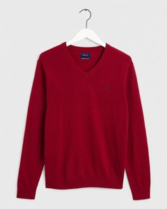 Gant Extrafine Lambswool V-Neck Pullover Red