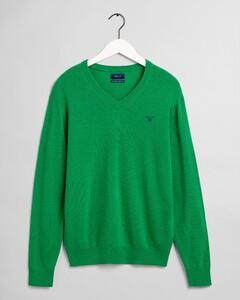 Gant Extrafine Lambswool V-Neck Trui Amazon Green