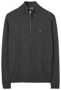 Gant Fine Lambswool Zipper Vest Cardigan Anthracite Melange