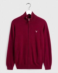 Gant Fine Lambswool Zipper Vest Cardigan Dark Burgundy Melange