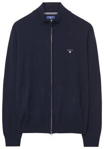 Gant Fine Lambswool Zipper Vest Cardigan Navy