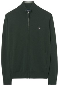 Gant Fine Lambswool Zipper Vest Cardigan Tartan Green