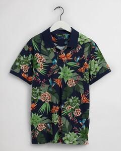 Gant Humming Garden Piqué Short Sleeve Poloshirt Evening Blue