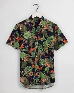 Gant Humming Garden Short Sleeve Overhemd Avond Blauw