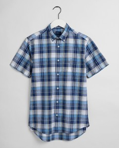Gant Indian Madras Short Sleeve Overhemd Pacific Blue