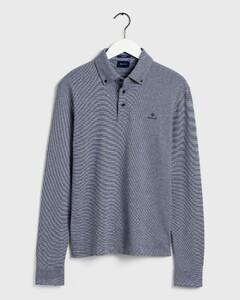 Gant Interlock Long Sleeve Rugger Polo Avond Blauw