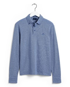 Gant Interlock Long Sleeve Rugger Polo Blauw
