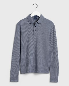 Gant Interlock Long Sleeve Rugger Poloshirt Evening Blue