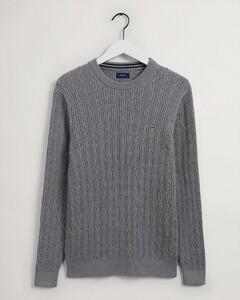 Gant Kabeltrui Ronde Hals Pullover Grey Melange
