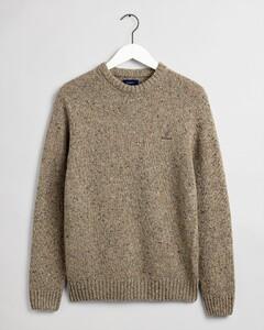 Gant Knit Crew Pullover Dark Sand Melange