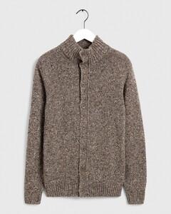 Gant Knit Mock Neck Cardigan Cardigan Grey Melange
