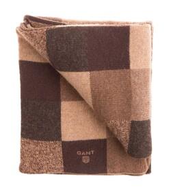 Gant Lambswool Tonal Check Sjaal Brown Melange