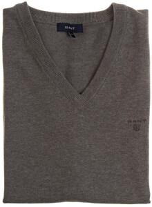Gant Leight Weight Cotton Slipover Slip-Over Dark Grey Melange