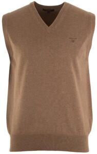 Gant Leight Weight Cotton Slipover Slip-Over Light Brown Melange