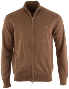 Gant Leight Weight Cotton Zipcardigan Cardigan Dark Hazelnut Melange