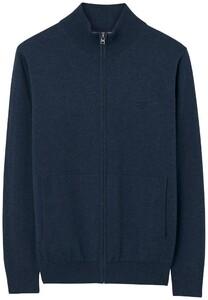 Gant Leight Weight Cotton Zipcardigan Cardigan Dark Jeans Blue Melange