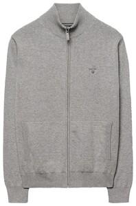 Gant Leight Weight Cotton Zipcardigan Cardigan Grey Melange