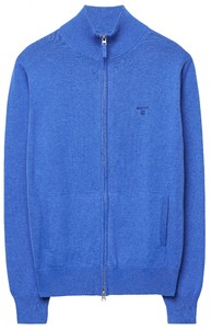 Gant Leight Weight Cotton Zipcardigan Vest Midden Blauw