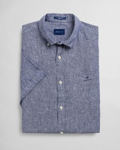 Gant Linen Button Down Short Sleeve Shirt Persian Blue