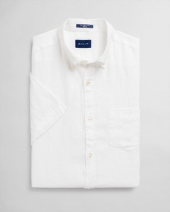 Gant Linnen Button Down Short Sleeve Overhemd Wit