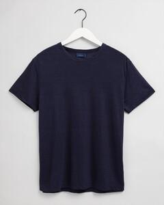 Gant Linnen Ronde Hals T-Shirt Avond Blauw