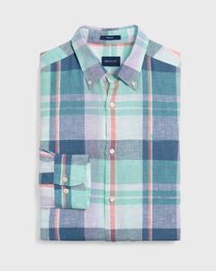 Gant Madras Linen Pastel Shirt Pool Green