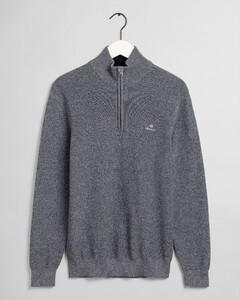 Gant Marled Cotton Half Zip Pullover Evening Blue