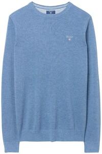 Gant Piqué Sweater Ronde Hals Pullover Denim Blue