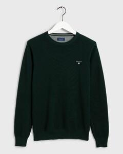 Gant Piqué Sweater Ronde Hals Trui Groen