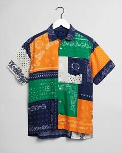 Gant Relaxed Fantasy Bandana Short Sleeve Shirt Overhemd Savannah Orange