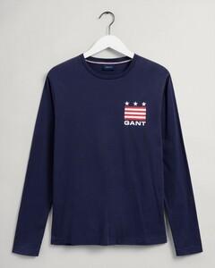 Gant Retro Shield Logo Long Sleeve T-Shirt Evening Blue