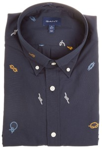 Gant Ropes Fil Coupe Overhemd Marine