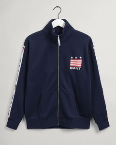 Gant Shield Zip Cardigan Vest Avond Blauw
