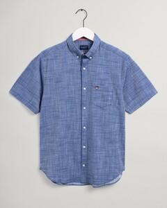 Gant Short Sleeve Cotton Twill Slub Overhemd College Blue