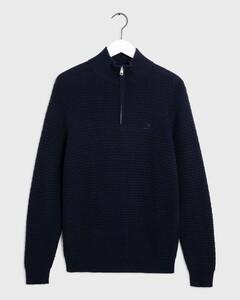 Gant Signature Weave Half Zip Pullover Evening Blue