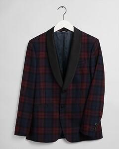 Gant Slim Check Tuxedo Jacket Colbert Port Red