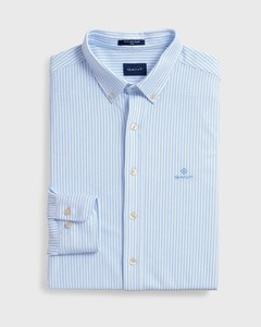 Gant Slim Tech Prep Piqué Stripe Overhemd Capri Blue