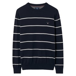 Gant Stretch Cotton Breton Crew Pullover Evening Blue