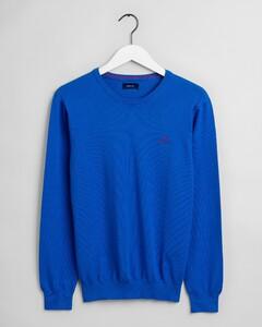 Gant Stretch Cotton Contrast C-Neck Trui Nautical Blue