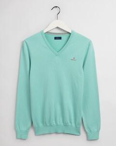 Gant Stretch Cotton Contrast V-Neck Trui Aqua Sky