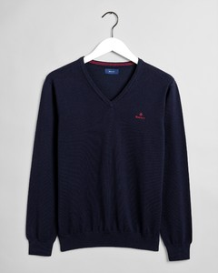 Gant Stretch Cotton Contrast V-Neck Trui Avond Blauw