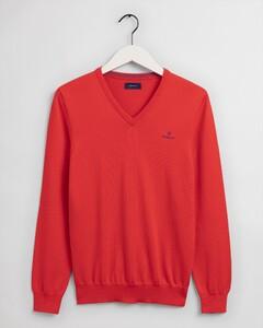 Gant Stretch Cotton Contrast V-Neck Trui Lava Red