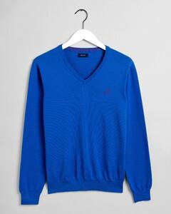 Gant Stretch Cotton Contrast V-Neck Trui Nautical Blue