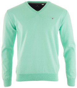 Gant Stretch Cotton V-Neck Pullover Opal Green