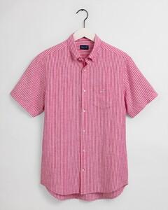 Gant Striped Short Sleeve Linnen Overhemd Cabaret Pink