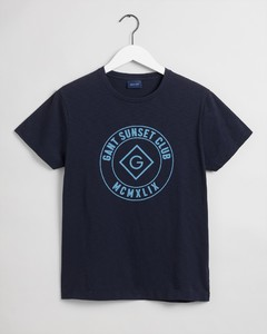 Gant Sunset Club Short Sleeve T-Shirt Evening Blue